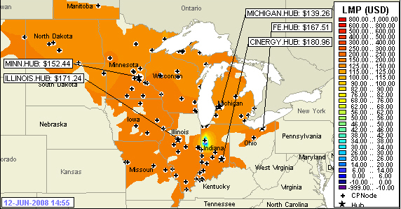 Midwest ISO Power Grid Map for June 12 2008
