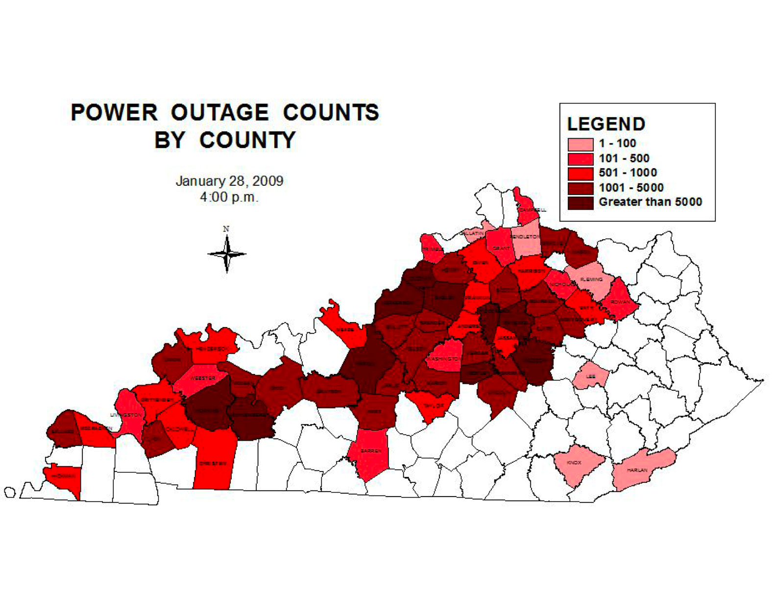 Kentucky Power Outage Map Jan 28 2009 4pm Edward Vielmetti S