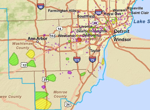 DTE power outage map for May 23, 2011, 11:00 p.m. | Edward ...
