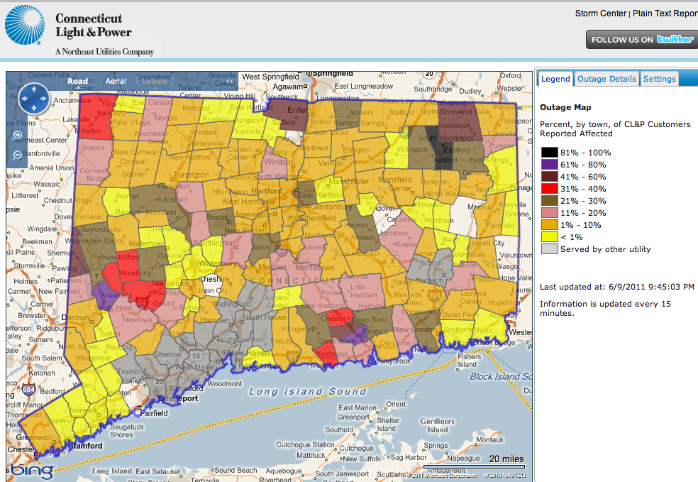 Ct Power Outage Map Ui.United Illuminating Service Area Map Www Creativehobby Store